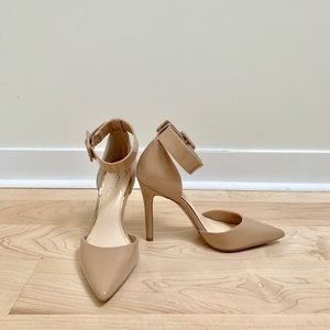 Like New Nude D'Orsay Heels with Ankle Strap